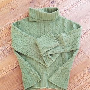Green angora sweater